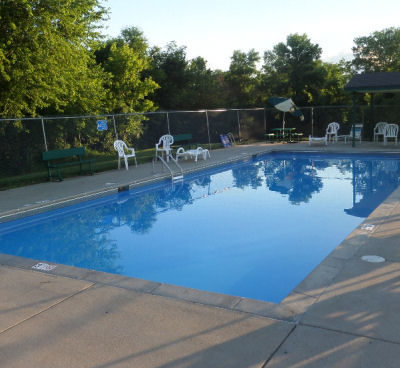 In-ground, heated swimming pool is clean and warm!